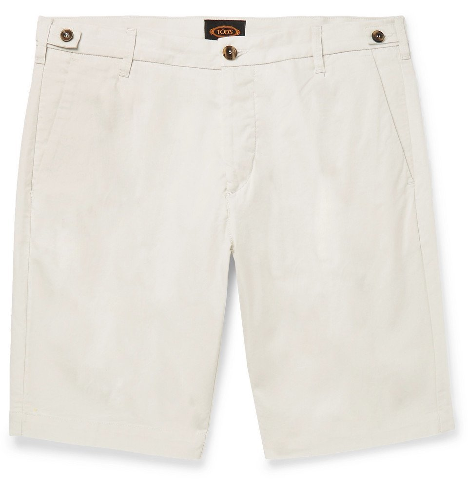 Photo: Tod's - Solaro Cotton-Blend Shorts - Off-white