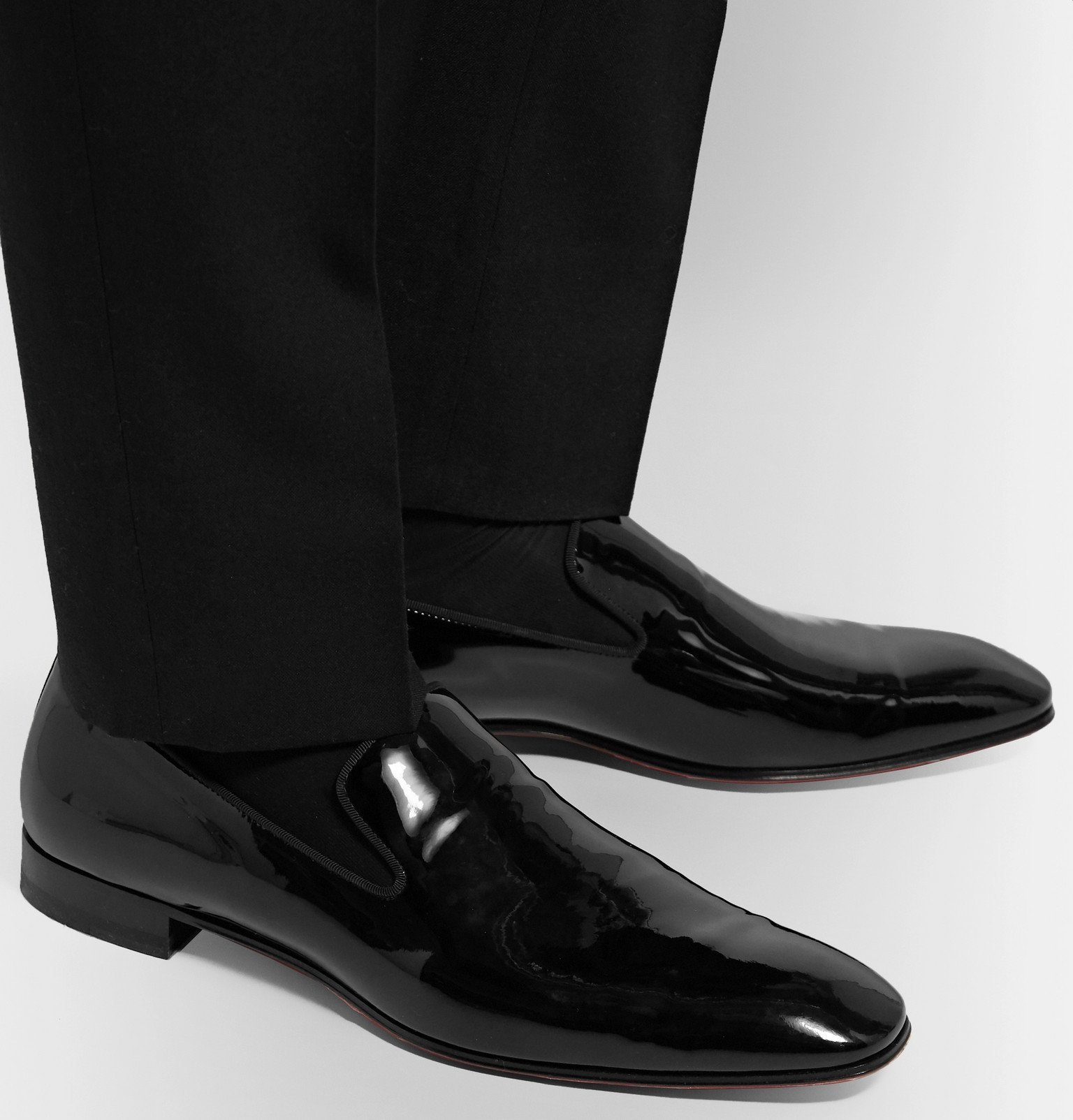 Photo: Christian Louboutin - Dandelion Grosgrain-Trimmed Patent-Leather Loafers - Black