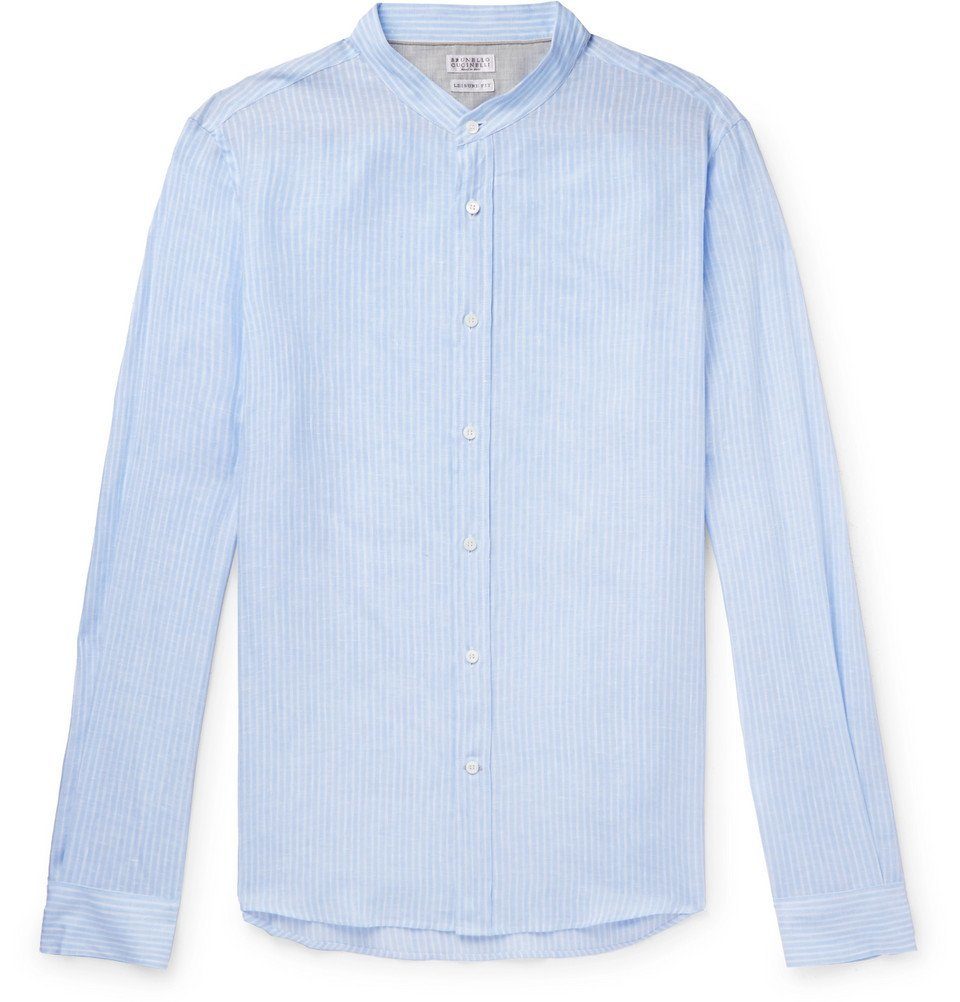 Photo: Brunello Cucinelli - Grandad-Collar Striped Linen Shirt - Blue