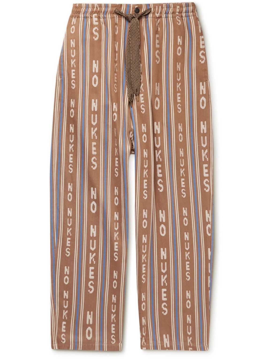 Photo: KAPITAL - Straight-Leg Striped Cotton-Blend Jacquard Drawstring Trousers - Brown