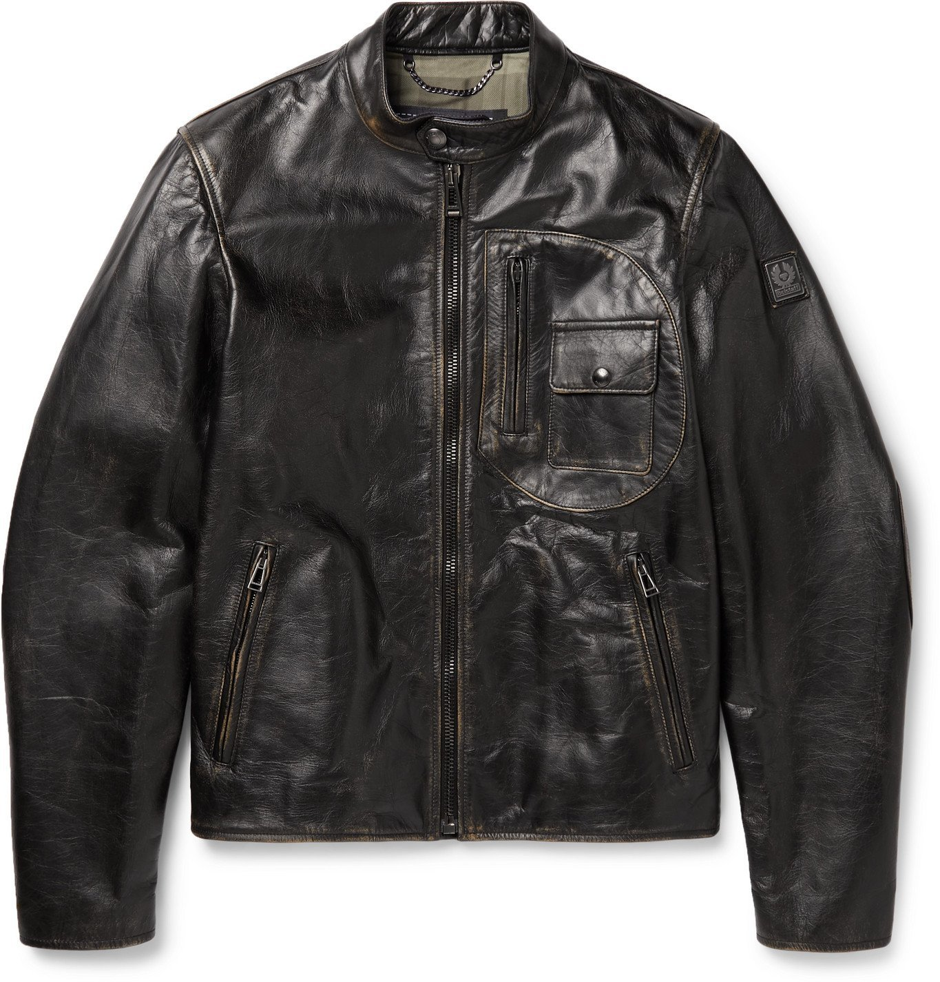 Photo: BELSTAFF - Langley Logo-Appliquéd Distressed Leather Jacket - Black