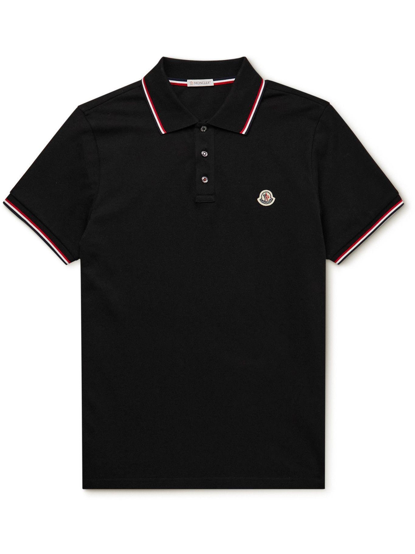 Photo: Moncler - Logo-Appliquéd Cotton-Piqué Polo Shirt - Black