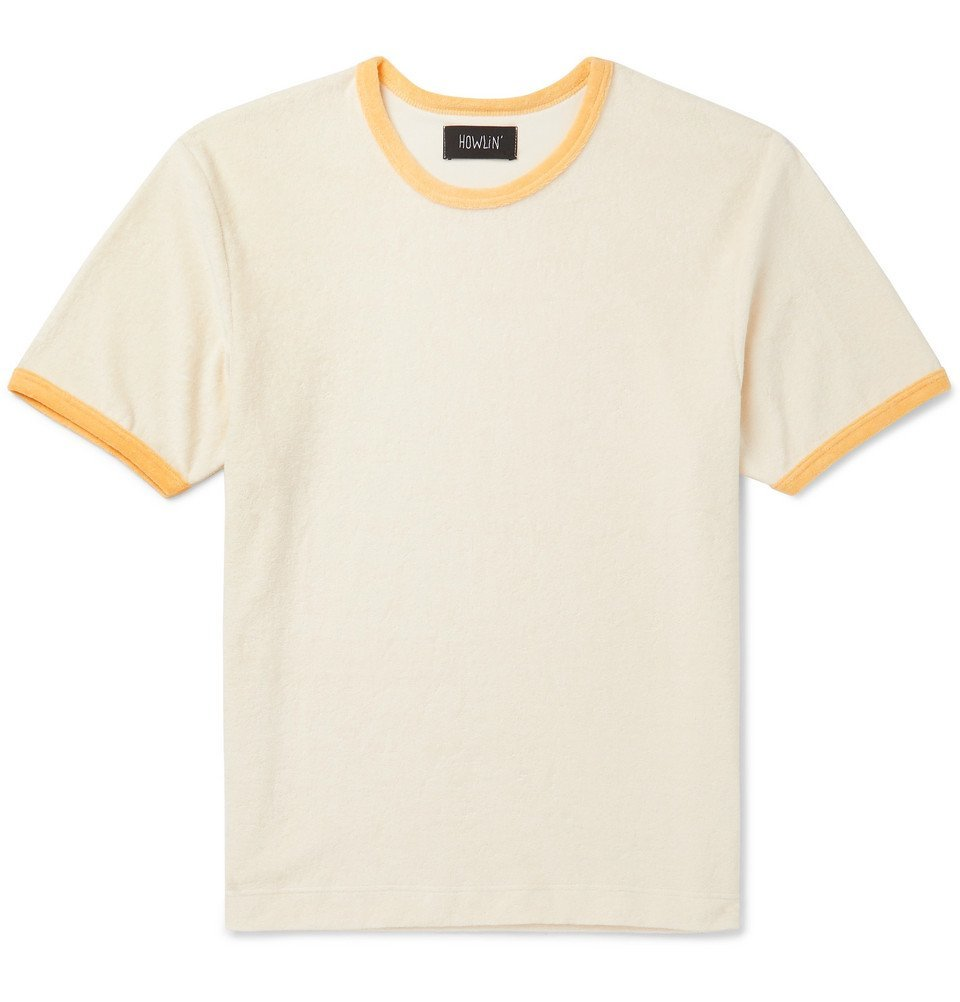 Photo: Howlin' - Amnesia Contrast-Trimmed Cotton-Blend Terry T-Shirt - Neutral