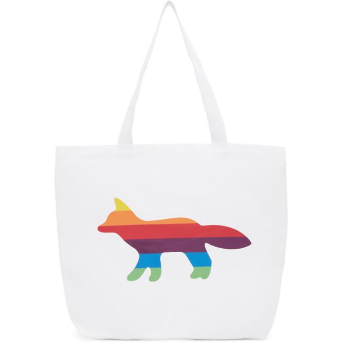 Photo: Maison Kitsune SSENSE Exclusive White Rainbow Fox Tote