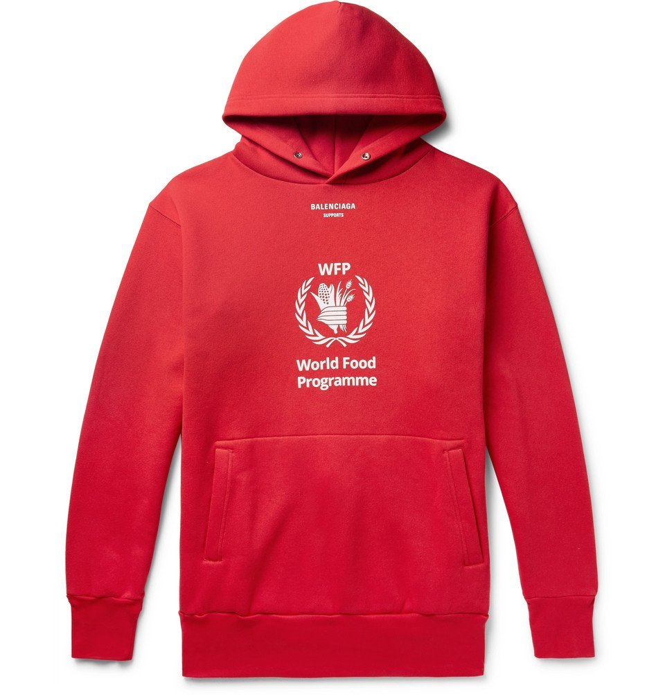 Balenciaga The World Food Programme Logo Print Cotton Blend Hoodie Men Red Balenciaga