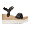 Stella McCartney Black and White Faux-Leather Elyse Sandals