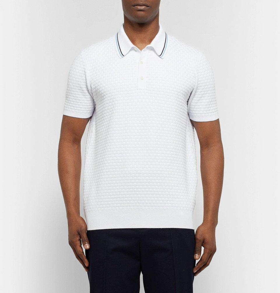 Tod's - Contrast-Tipped Basketweave Stretch-Cotton Polo Shirt - Men - White