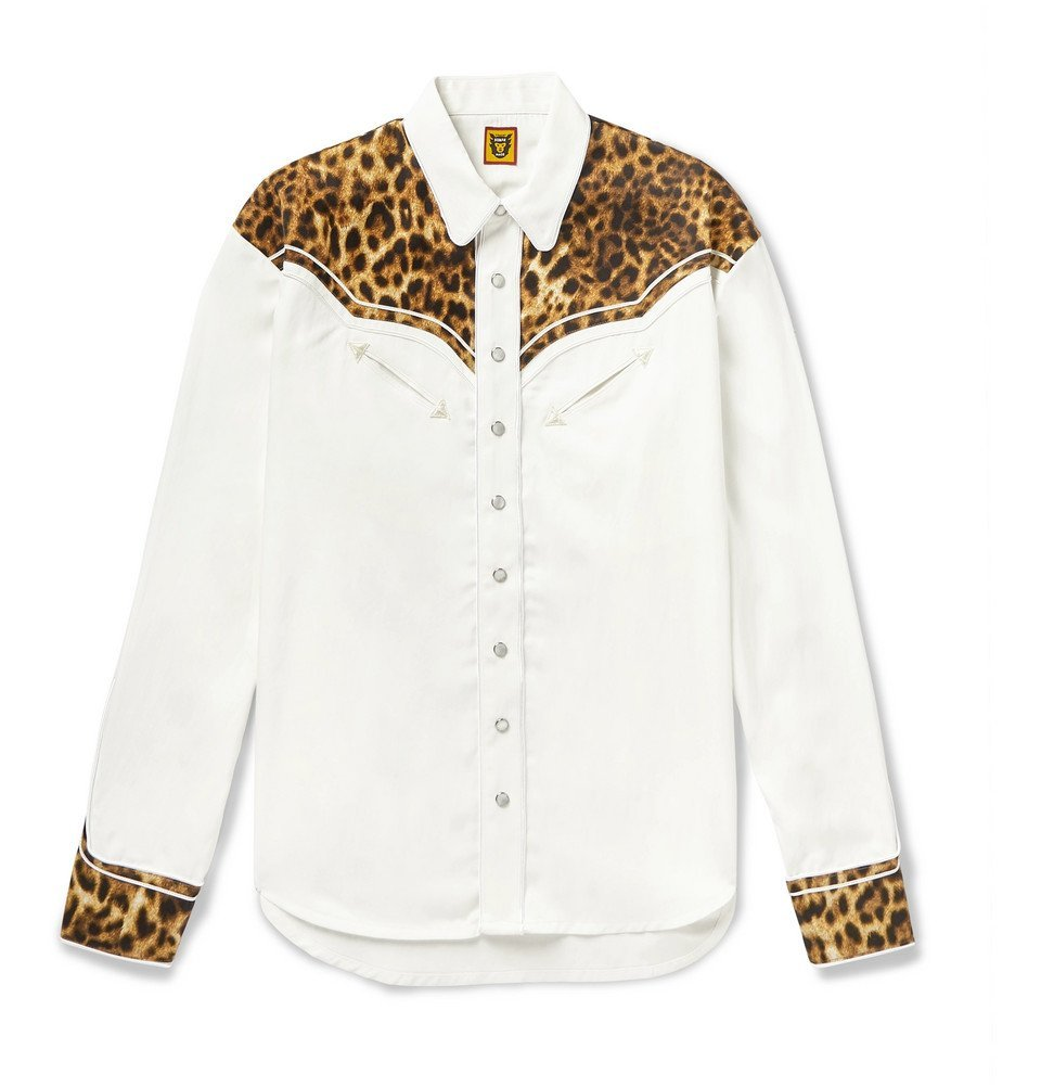 Photo: Human Made - Panelled Leopard-Print Satin and Twill Western Shirt - White