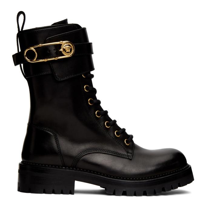 Photo: Versace Black Medusa Safety Pin Boots