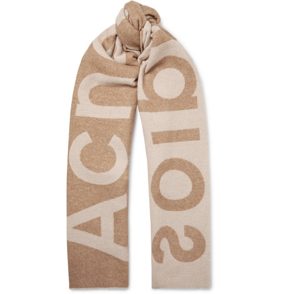 Photo: Acne Studios - Toronty Oversized Logo-Intarsia Wool-Blend Scarf - Tan