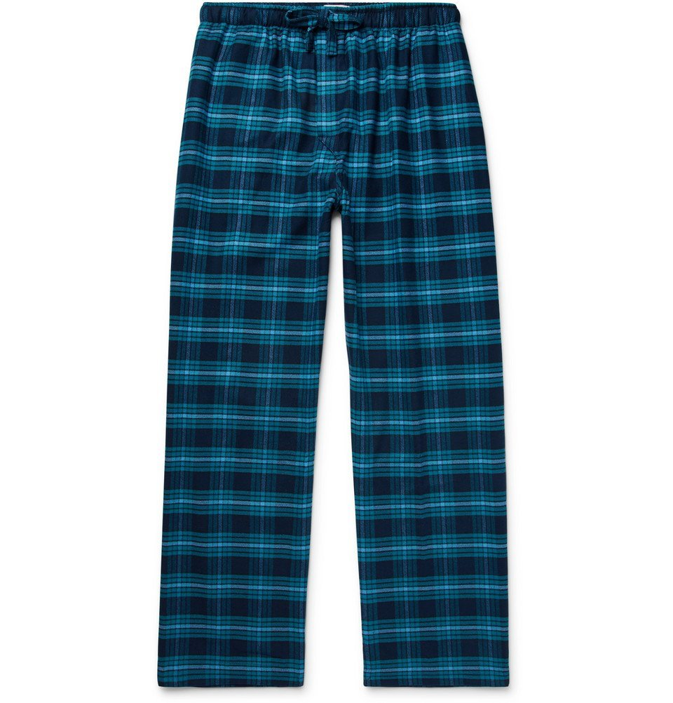Photo: Derek Rose - Kelburn Checked Cotton-Flannel Pyjama Trousers - Blue
