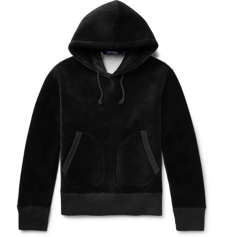Photo: Junya Watanabe - Faux Suede Elbow-Patch Cotton-Blend Velour Hoodie - Black
