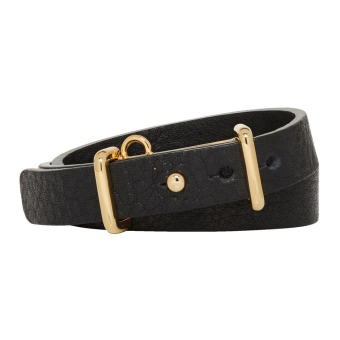 Photo: Ambush Black and Gold Leather Buckle Bracelet