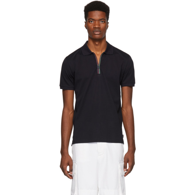 Photo: PS by Paul Smith Navy Cycle Stripe Zip Polo