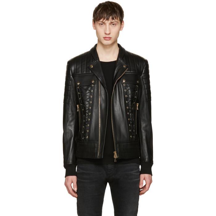Photo: Balmain Black Leather Lace-Up Biker Jacket