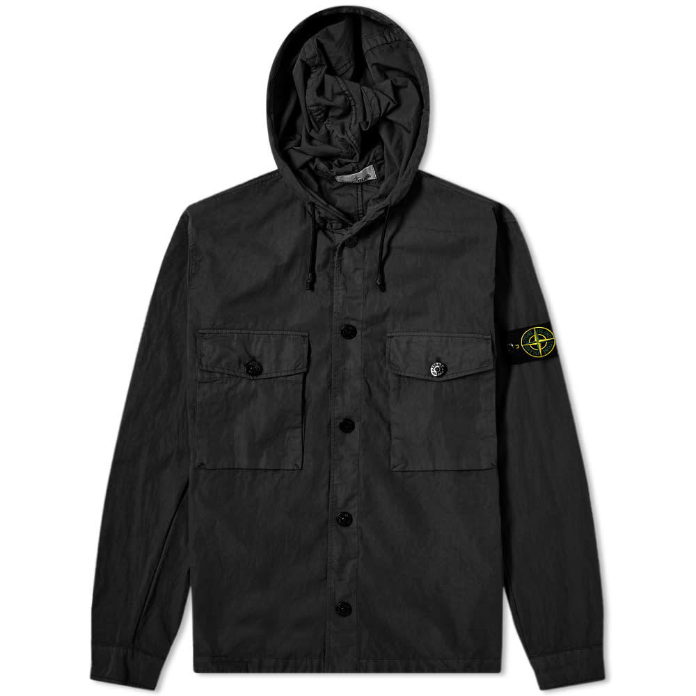 Photo: Stone Island Garment Dyed Hooded Button Overshirt