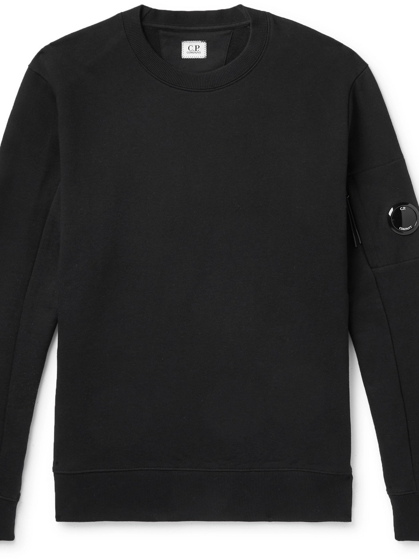 Photo: C.P. COMPANY - Logo-Appliquéd Fleece-Back Cotton-Jersey Sweatshirt - Black - L