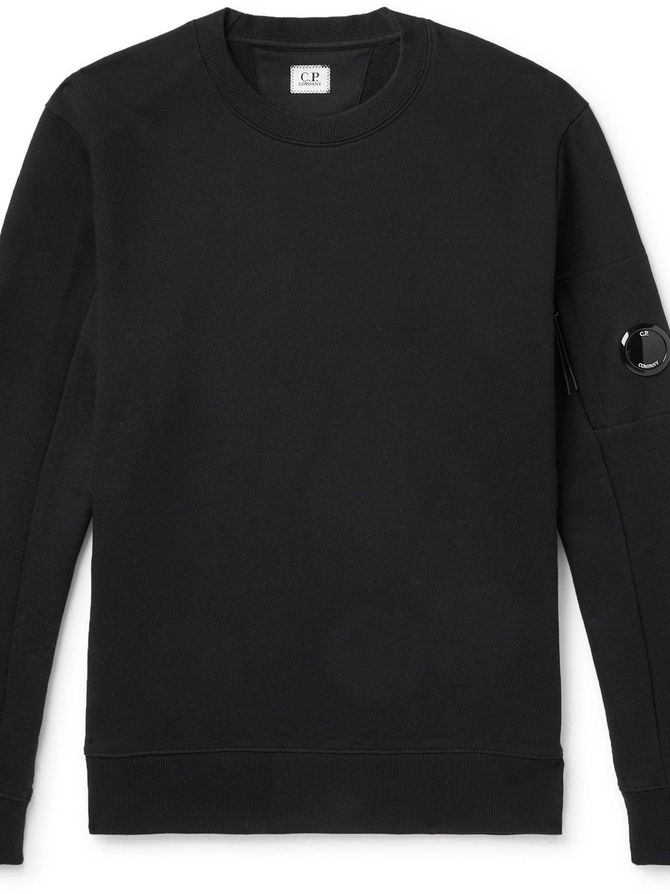 C.P. COMPANY - Logo-Appliquéd Fleece-Back Cotton-Jersey Sweatshirt - Black - L