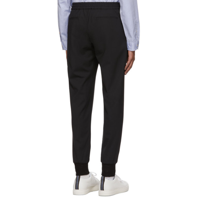 PS by Paul Smith Black Wool Drawcord Trousers