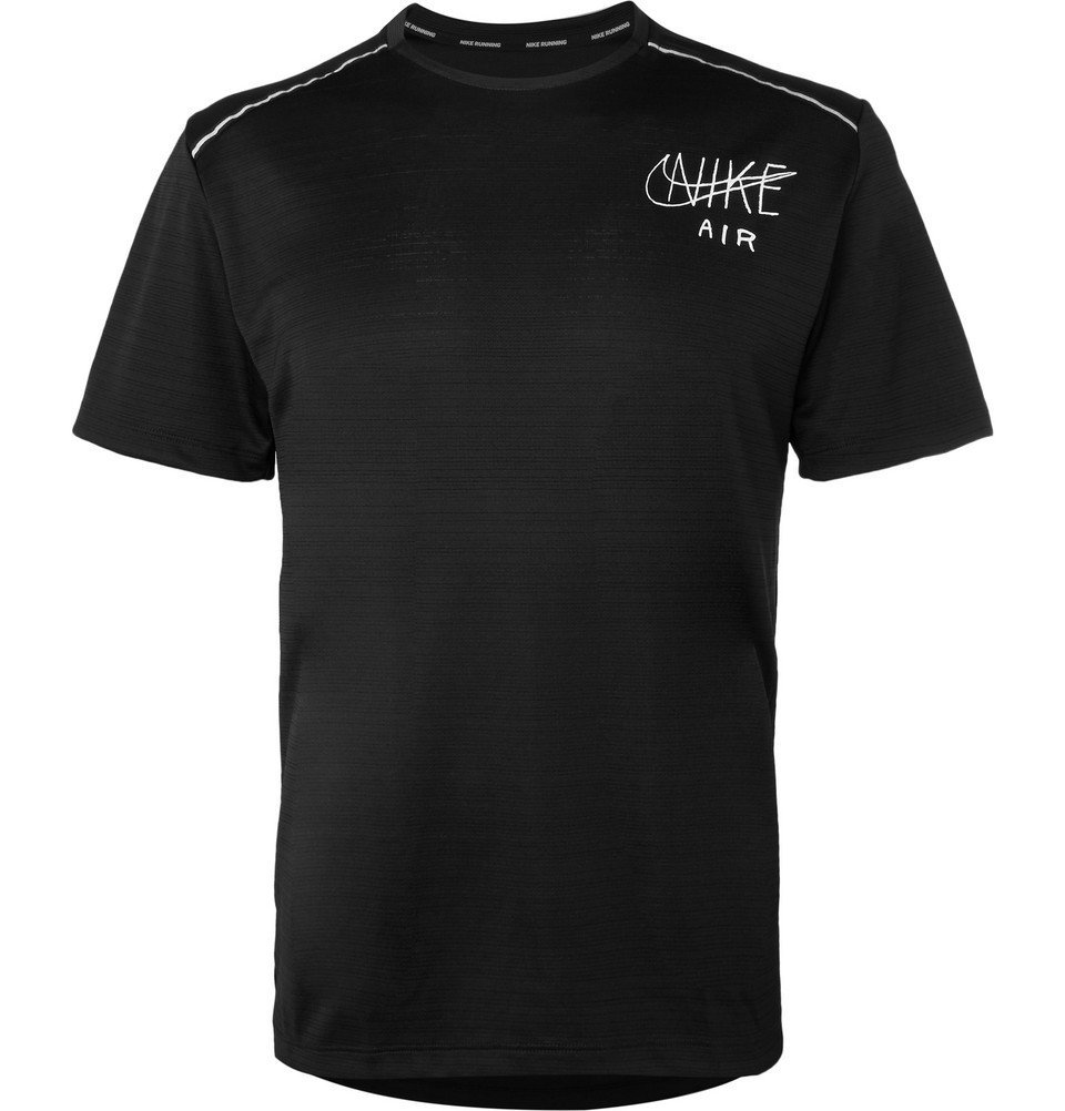 Nike Running - Miler Logo-Print Dri-FIT T-Shirt - Men - Black