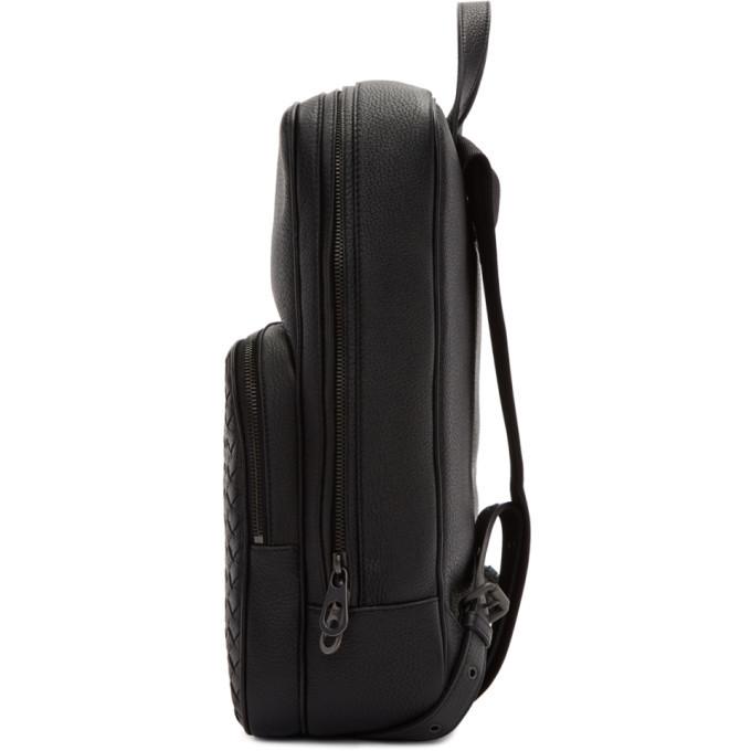 Bottega Veneta Black Intrecciato Deerskin Backpack