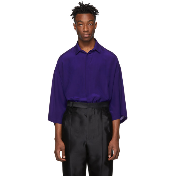 Photo: Haider Ackermann Blue Silk Short Sleeve Shirt