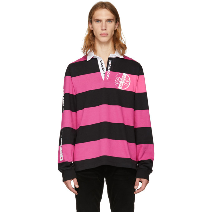 Photo: Opening Ceremony Pink and Black Striped Rugby Polo