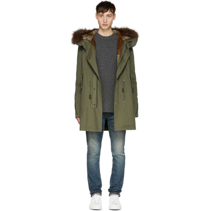 Photo: Yves Salomon Green Fur-Lined Hooded Parka
