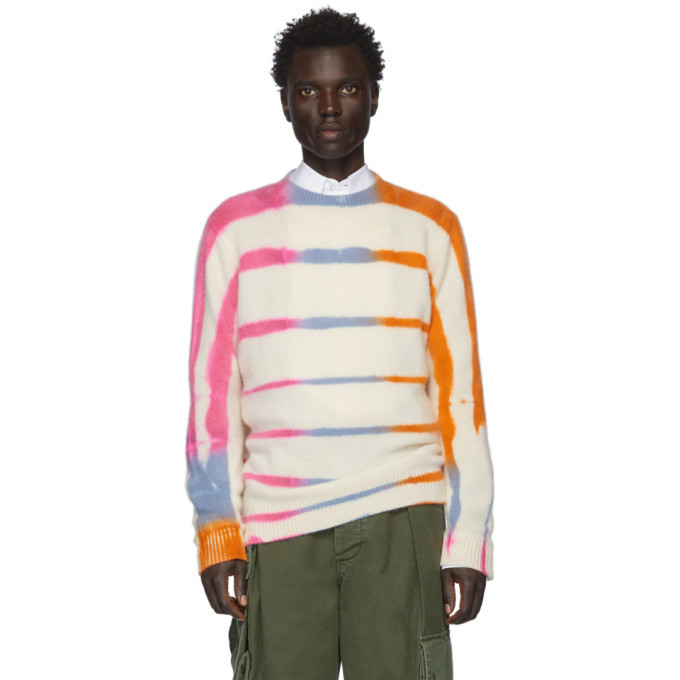 Photo: The Elder Statesman Off-White and Pink Cashmere Ladder-Dye Sweater