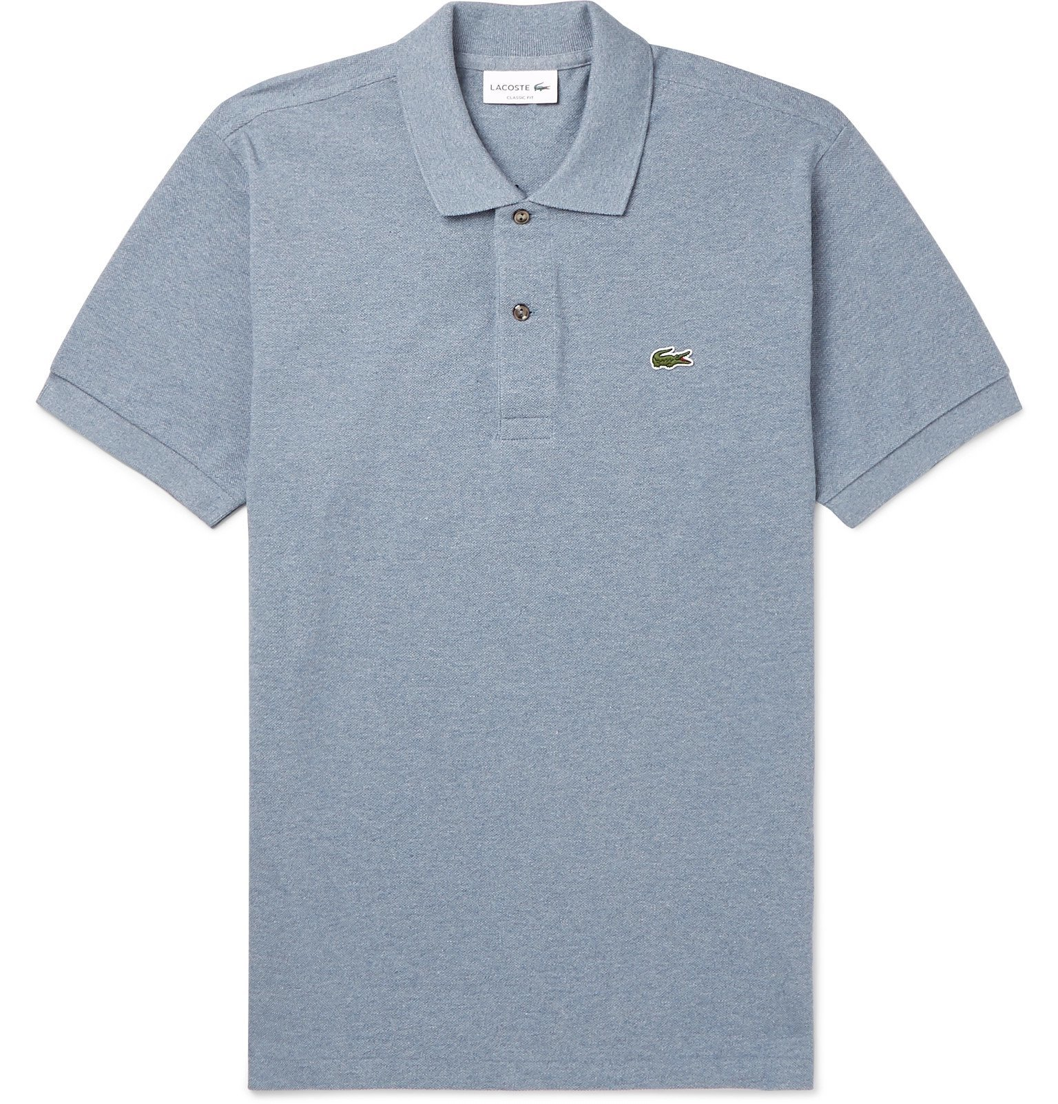 Photo: Lacoste - Mélange Cotton-Piqué Polo Shirt - Blue