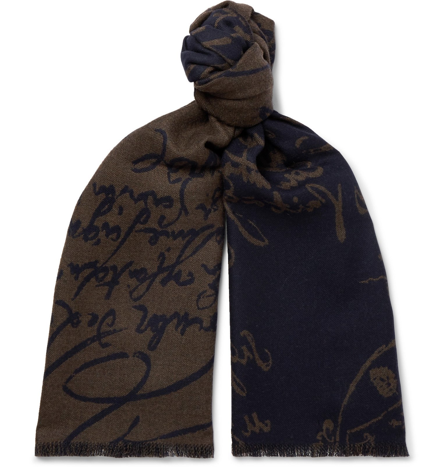 Photo: Berluti - Scritto Fringed Cashmere-Jacquard Scarf - Brown