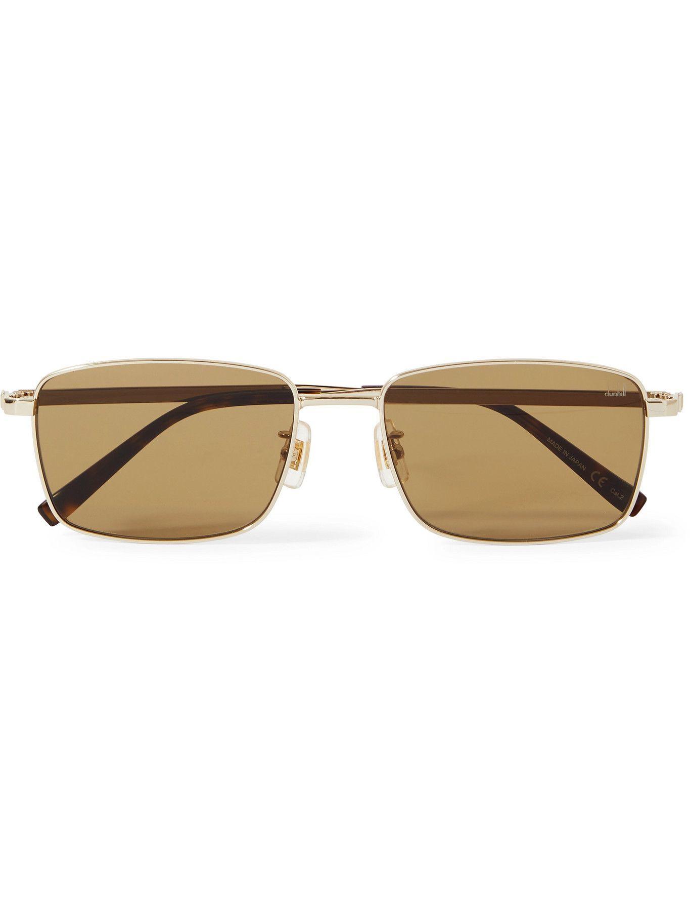 DUNHILL - Square-Frame Gold-Tone Sunglasses