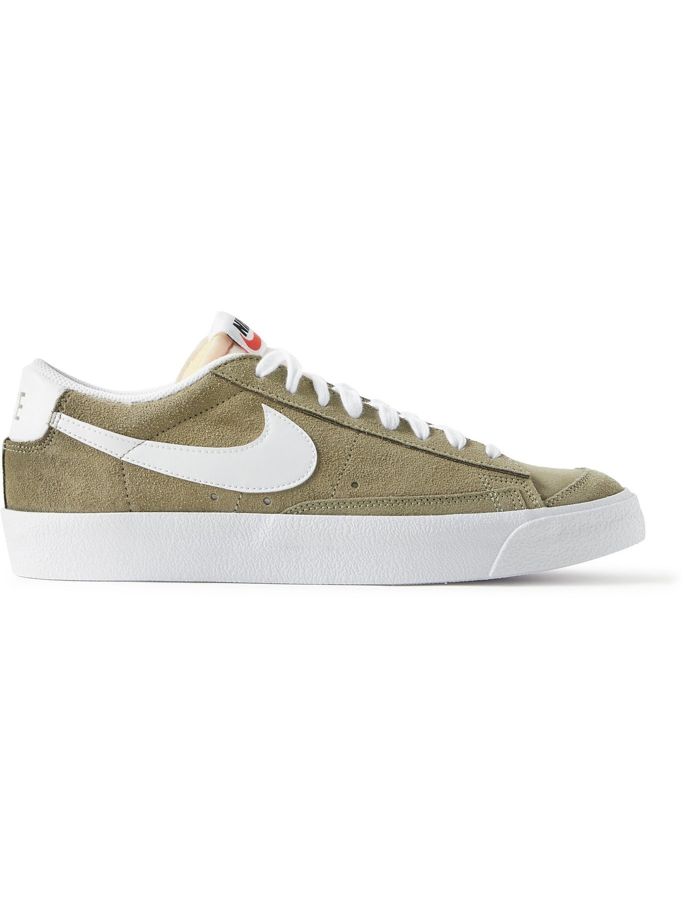 NIKE - Blazer Low '77 Leather-Trimmed Suede Sneakers - Green Nike