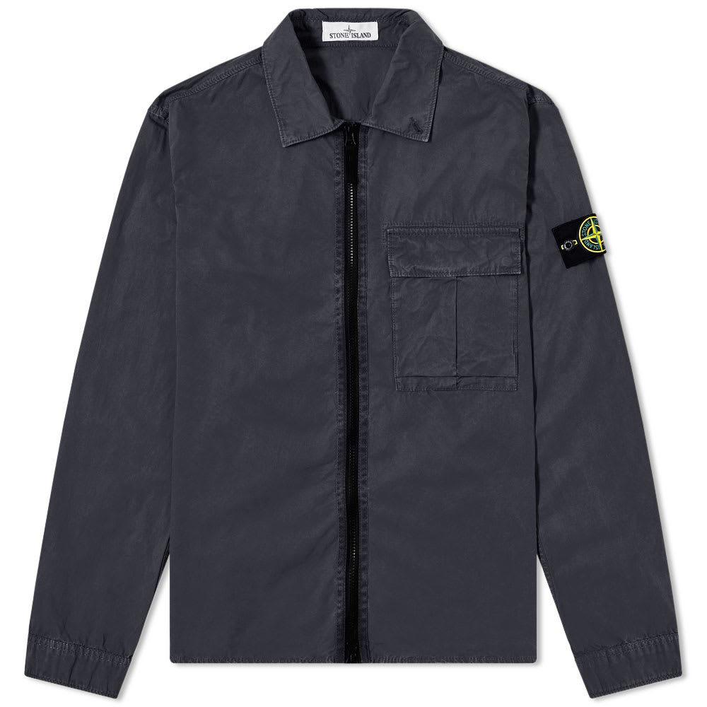 Photo: Stone Island Garment Dyed Zip Overshirt Navy