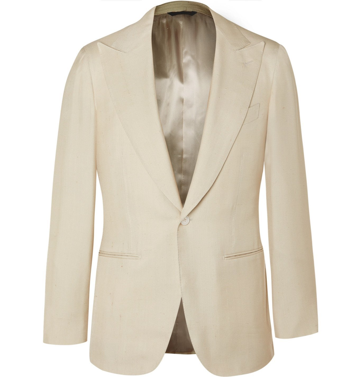 Photo: Saman Amel - Slim-Fit Slub Silk Tuxedo Jacket - Neutrals