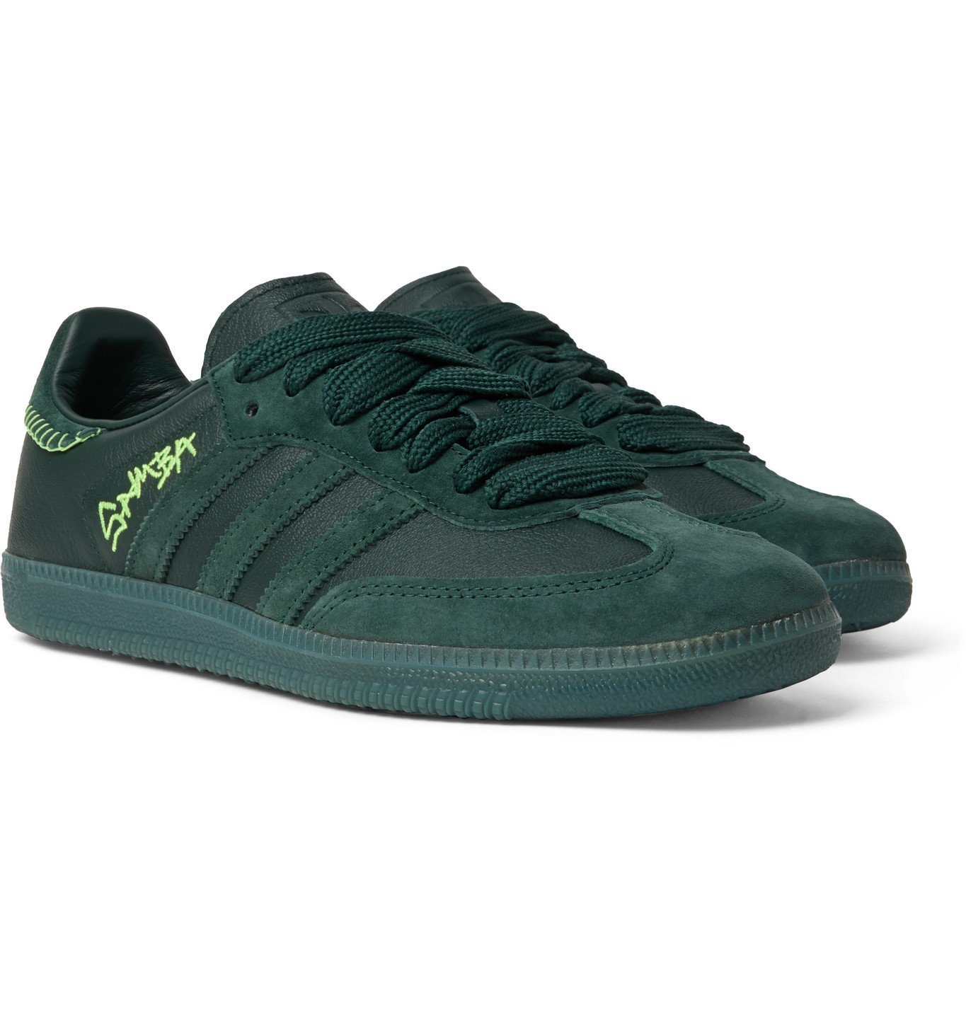 Photo: adidas Consortium - Jonah Hill Samba Embroidered Suede and Leather Sneakers - Green
