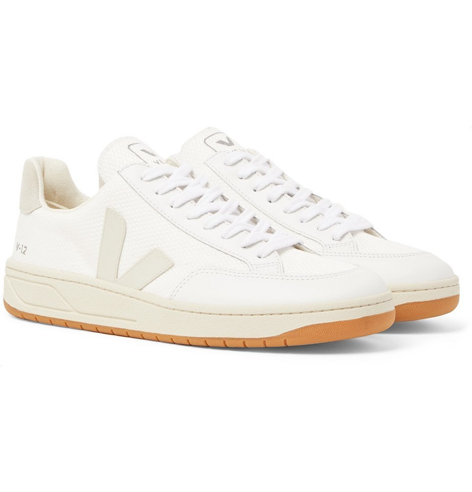 Photo: Veja - V-12 Leather and Rubber-Trimmed Suede and B-Mesh Sneakers - White