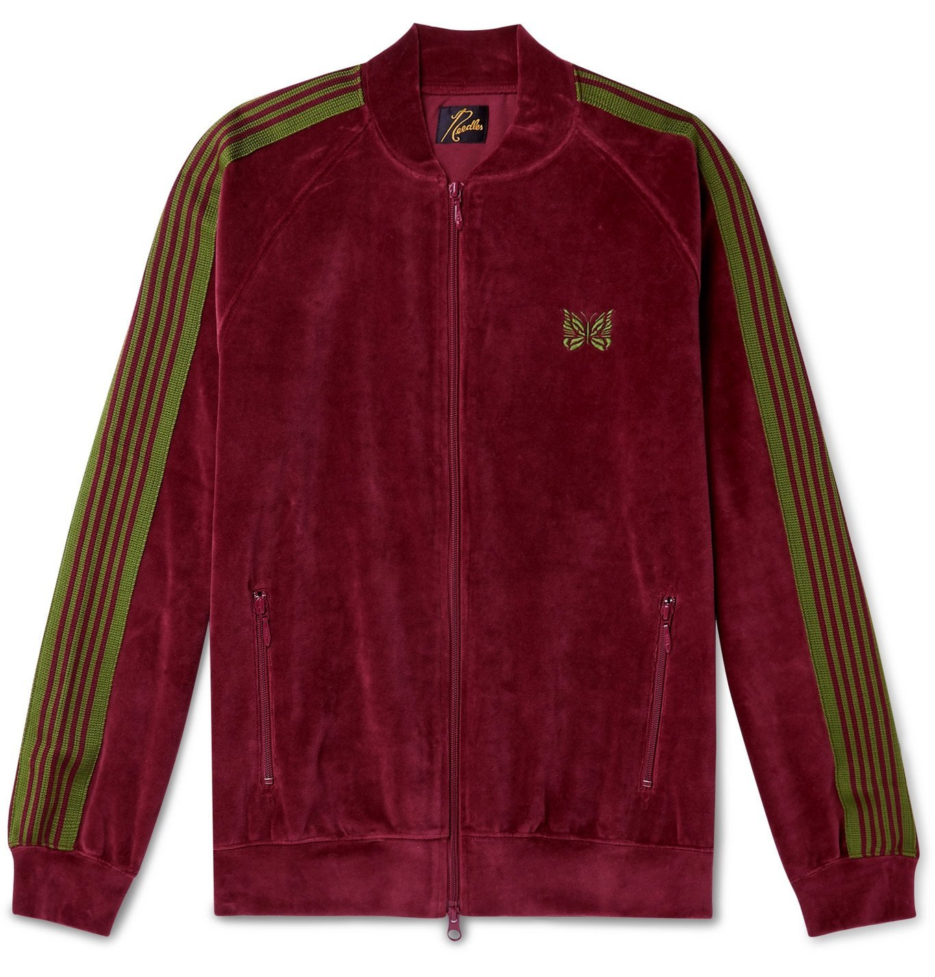 Photo: Needles - Logo-Embroidered Webbing-Trimmed Cotton-Blend Velour Track Jacket - Burgundy