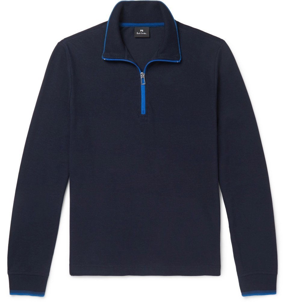 Photo: PS by Paul Smith - Contrast-Tipped Cotton-Piqué Half-Zip Sweatshirt - Men - Navy