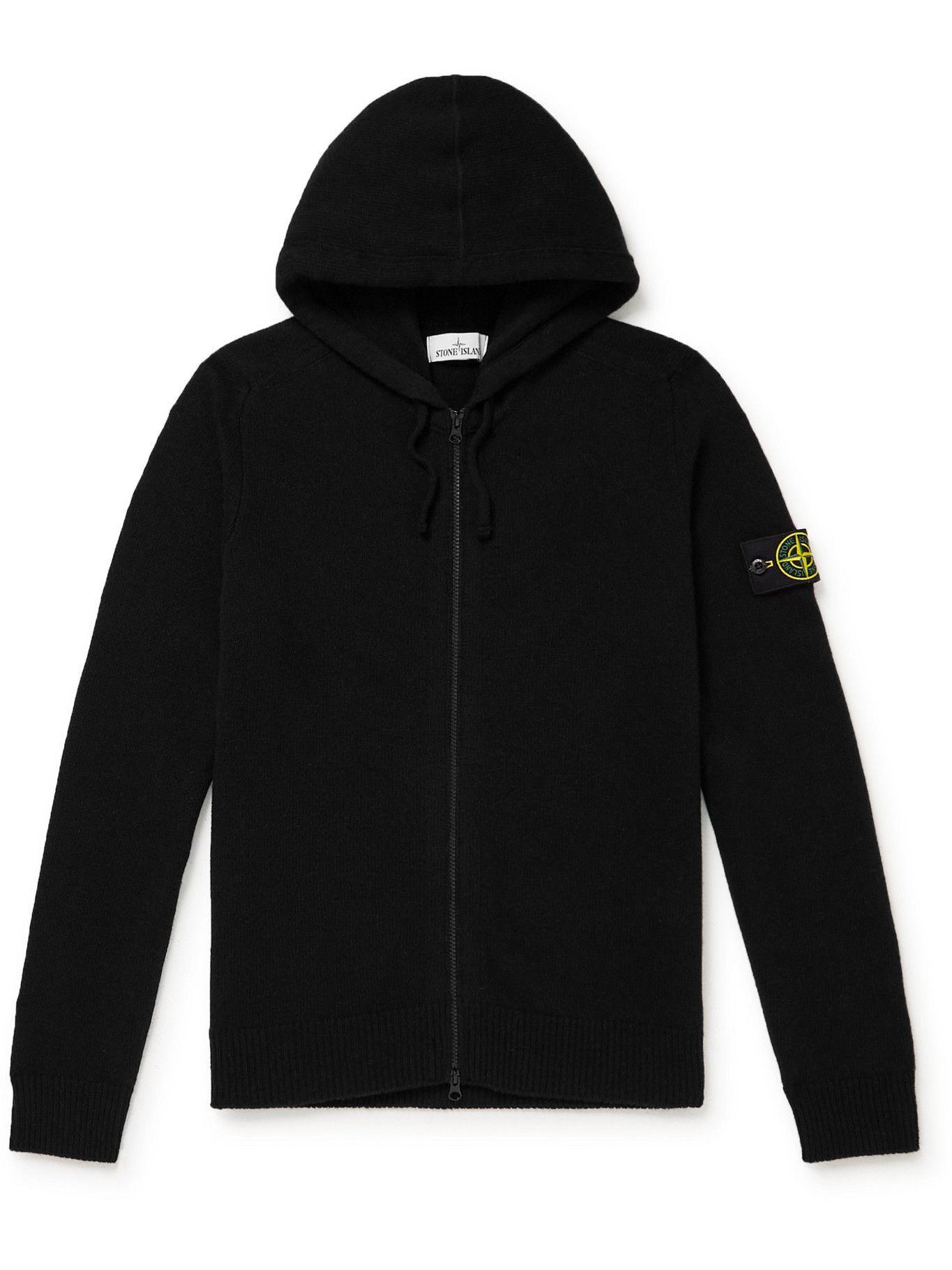 Photo: Stone Island - Logo-Appliquéd Wool-Blend Zip-Up Hoodie - Black