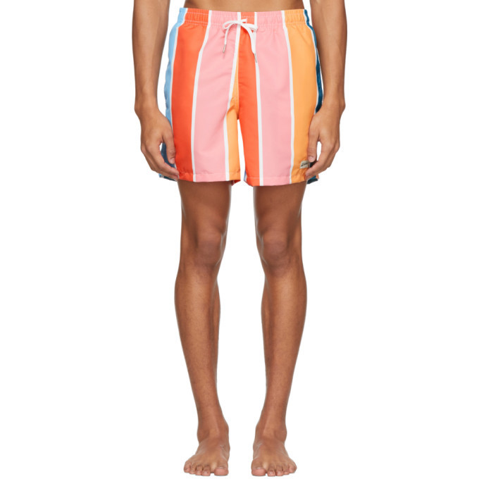 Photo: Bather Multicolor Striped Gradient Swim Shorts