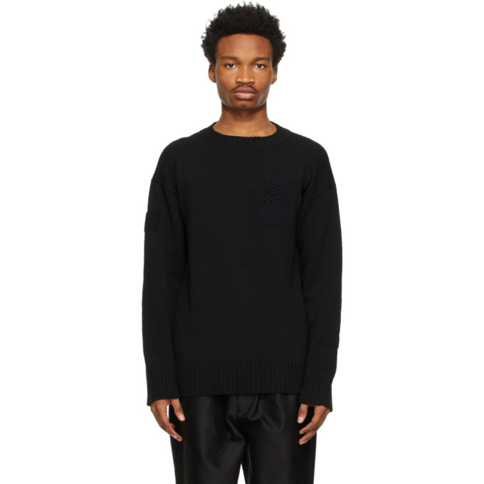 Photo: Jil Sander Black Wool Patch Sweater