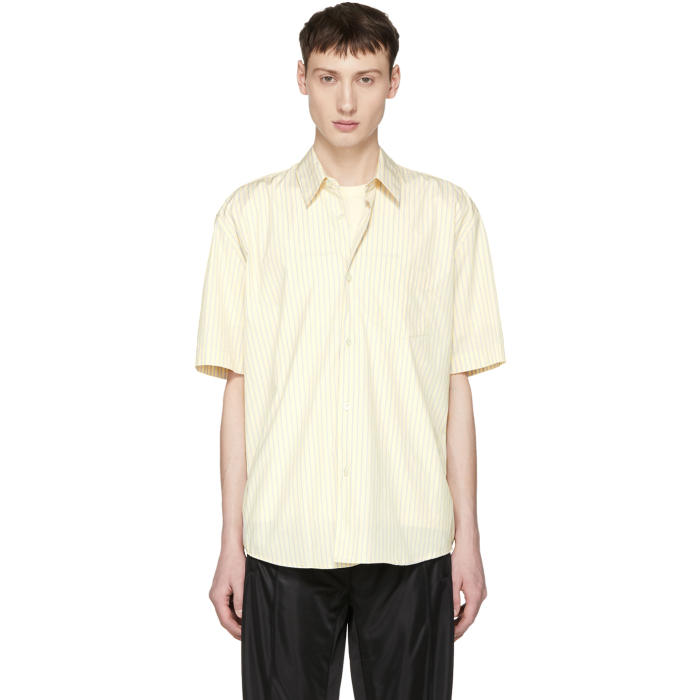 Photo: Our Legacy Yellow Short Sleeve Stripe Initial Shirt