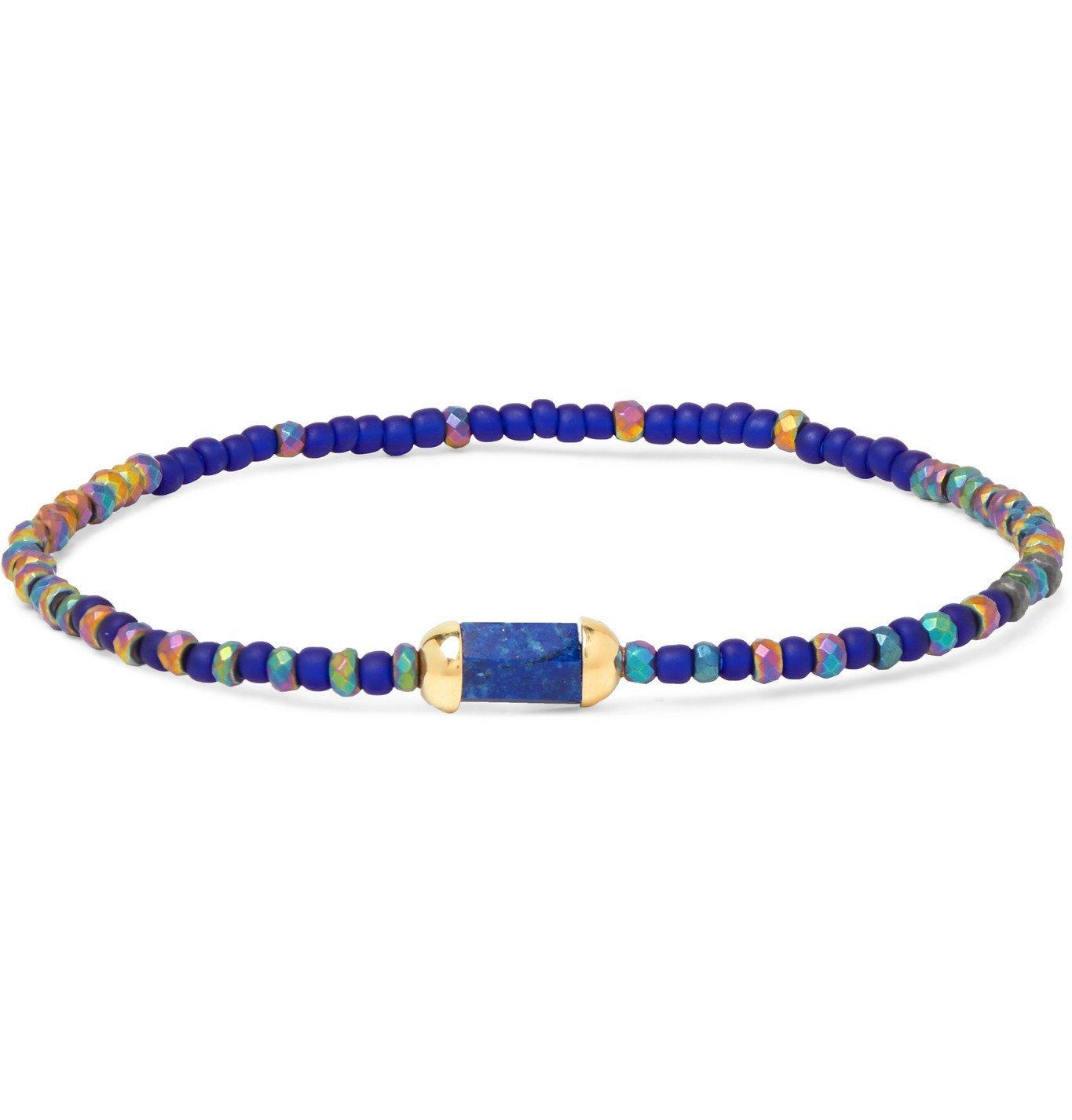 Photo: LUIS MORAIS - 14-Karat Gold, Lapis Lazuli and Bead Bracelet - Blue