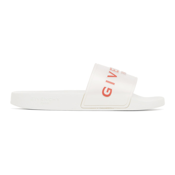 Photo: Givenchy White Logo Slides