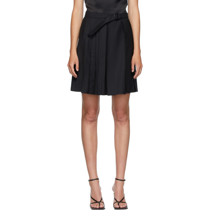Photo: Situationist SSENSE Exclusive Black Wool Belted Pleats Miniskirt