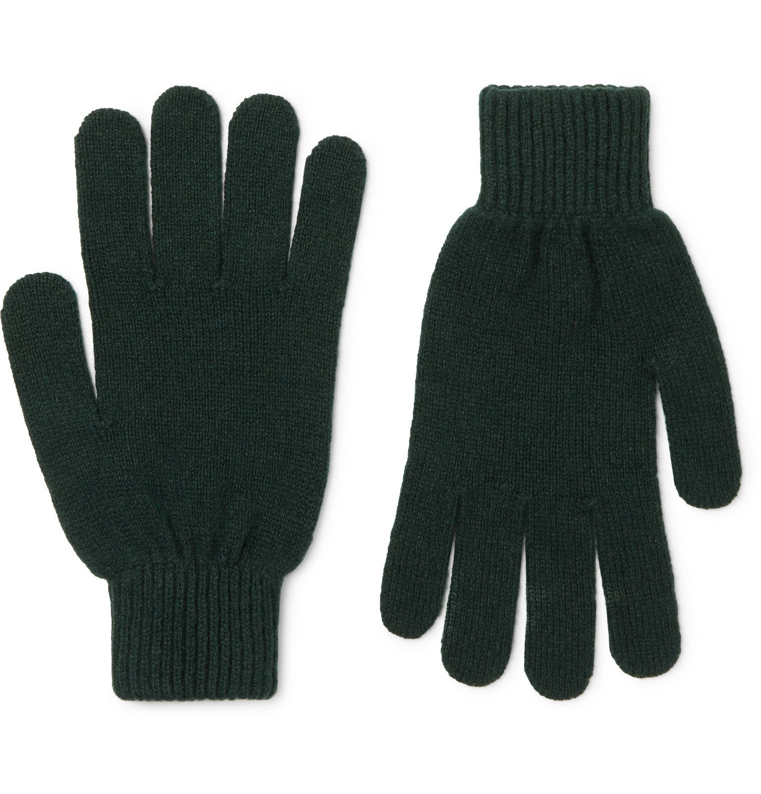 Photo: Paul Smith - Cashmere and Merino Wool-Blend Gloves - Green