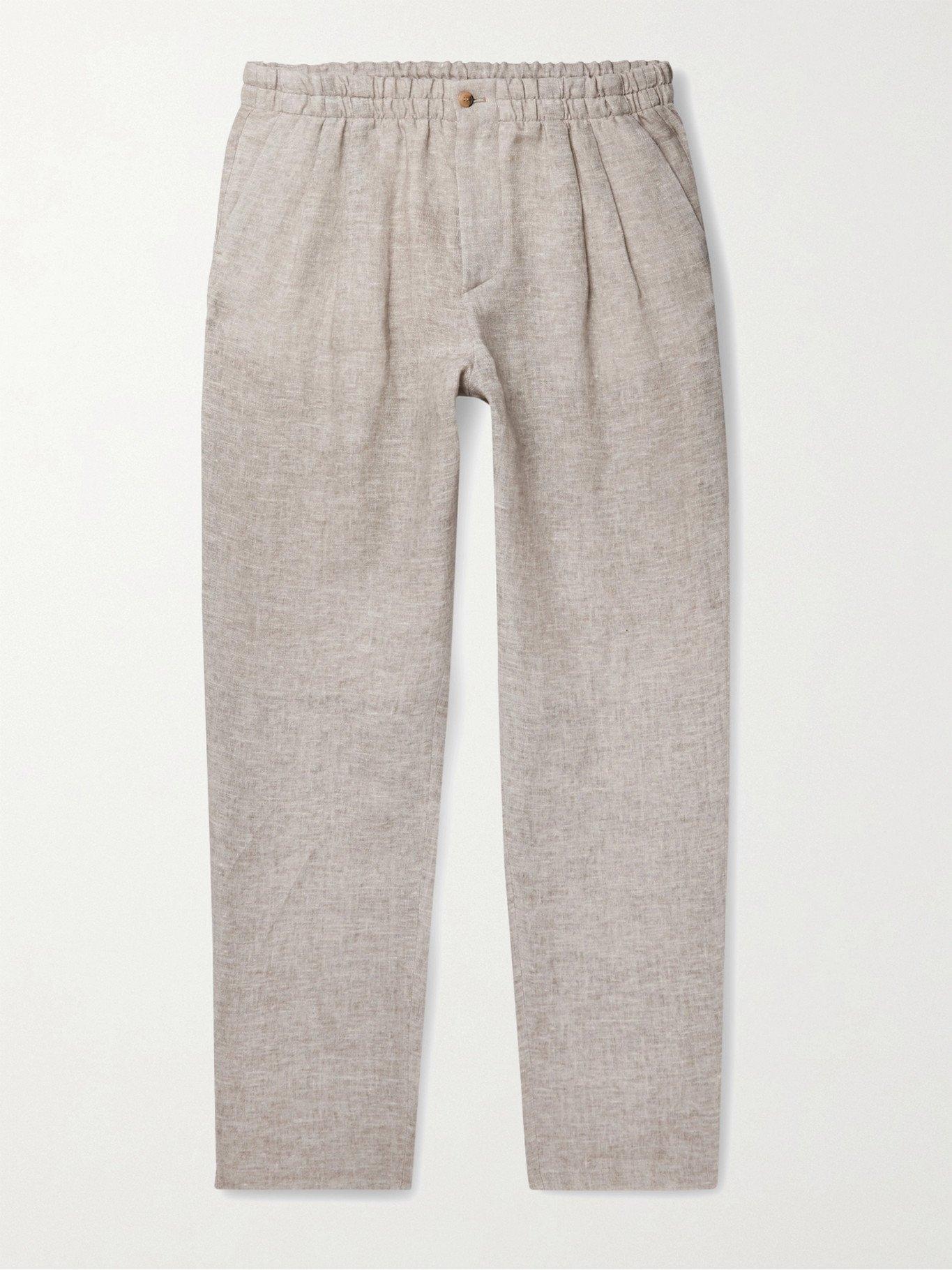 GIORGIO ARMANI - Tapered Linen Suit Trousers - Neutrals