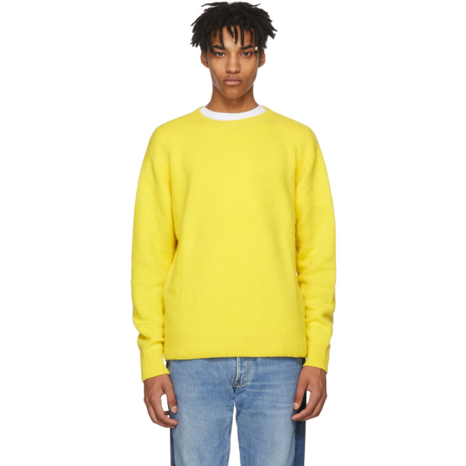 Photo: The Elder Statesman Yellow Cashmere Simple Crew Sweater