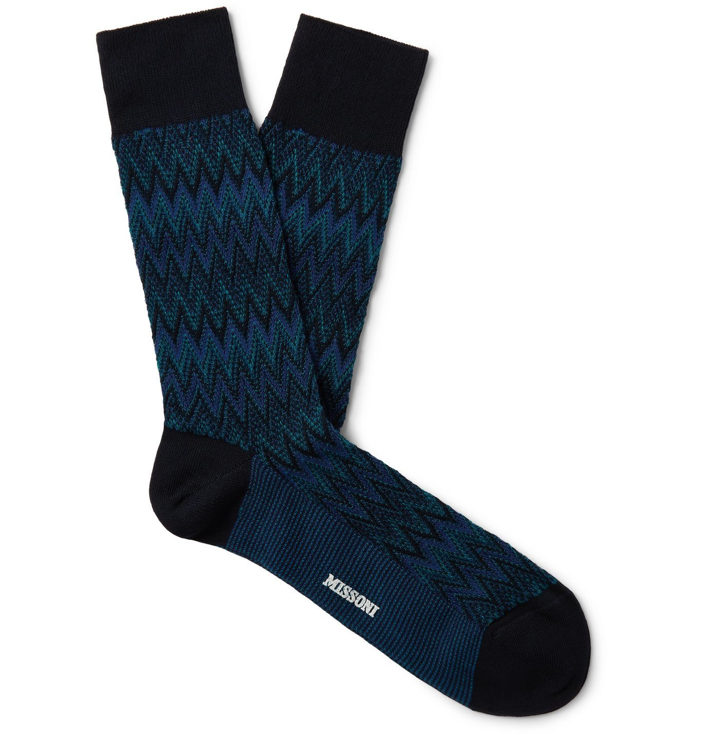 Photo: Missoni - Crochet-Knit Cotton-Blend Socks - Blue